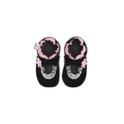 Miękkie paputki do chodzenia -czarne baleriny z różowym wykończeniem