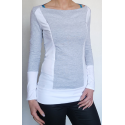 CONTRAST SLIMMING NURSING TOPS ZIPS BOAT NECK  NIMAR -  gray/white