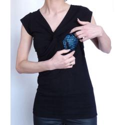 Bluzka przeplatana ciążowa/do karmienia NIMAR krótki rękaw czarna