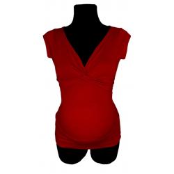 Bluzka przeplatana ciążowa/do karmienia NIMAR krótki rękaw czerwona