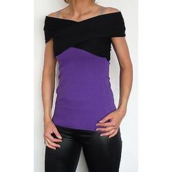Bluzka zakładana ciążowa/do karmienia NIMAR krótki rękaw  czarny/śliwka