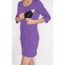 Sukienka ciążowa/do karmienia NIMAR rękaw 3/4 fiolet