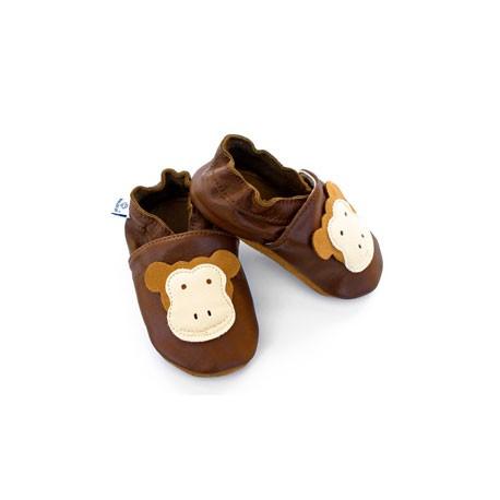 Miękkie paputki do chodzenia - brązowe z małpką