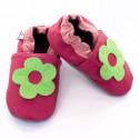 Miękkie paputki do chodzenia - ciemnoróżowe z zielonym kwiatkiem