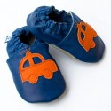 Miękkie paputki do chodzenia - granatowe z pomarańczowym autem