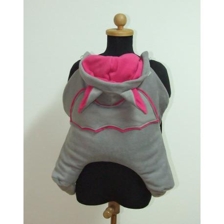 Smocza osłonka do chusty/nosidła Skulart - czarno - różowa