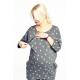 Cangaroo - Bluza ciążowa i do karmienia ulla gold - bawełna, grafitowa w złote krople, długa, rękaw 3/4, kieszenie