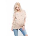 Cangaroo - Bluza ciążowa i do karmienia hoobart creamy birds - bawełna, kremowa w ptaki, długa, oversize