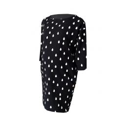Cangaroo - Sukienka ciążowa / do karmienia clifton bina - elegancka, czarna w krople, rękaw 3/4, kieszenie, uniwersalna