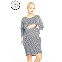 Cangaroo - Sukienka ciążowa / do karmienia clifton pepitka - dresowa, bawełna,  długa, rękaw 3/4, kieszenie