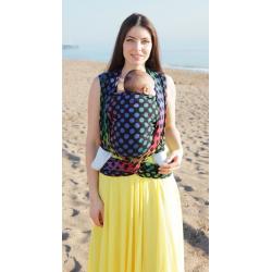 Żakardowa chusta tkana do noszenia dzieci Kokadi Black Rainbow Dots