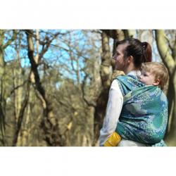 Żakardowa chusta tkana do noszenia dzieci Yaro Slings Chrys Ultra Green Lilac Sand Tencel