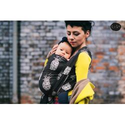Żakardowa chusta kółkowa do noszenia dzieci Roar Mniam Mniam noir neon